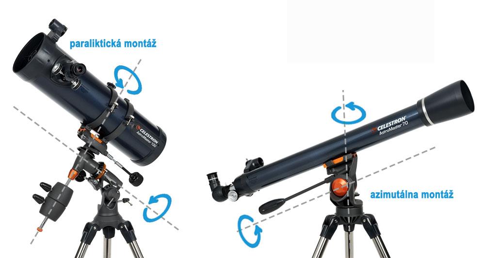 paraliktická a azimutálna montáž astronomického ďalekohľadu